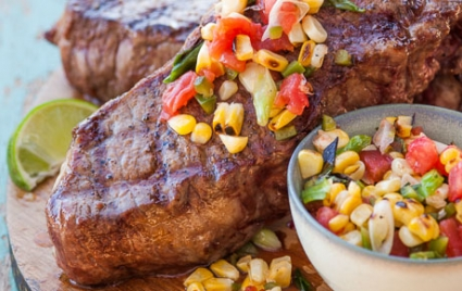 Dry-Aged Steaks with Grilled Salsa