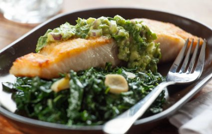 Pan-Seared Paiche with Spicy Avocado Sauce and Greens