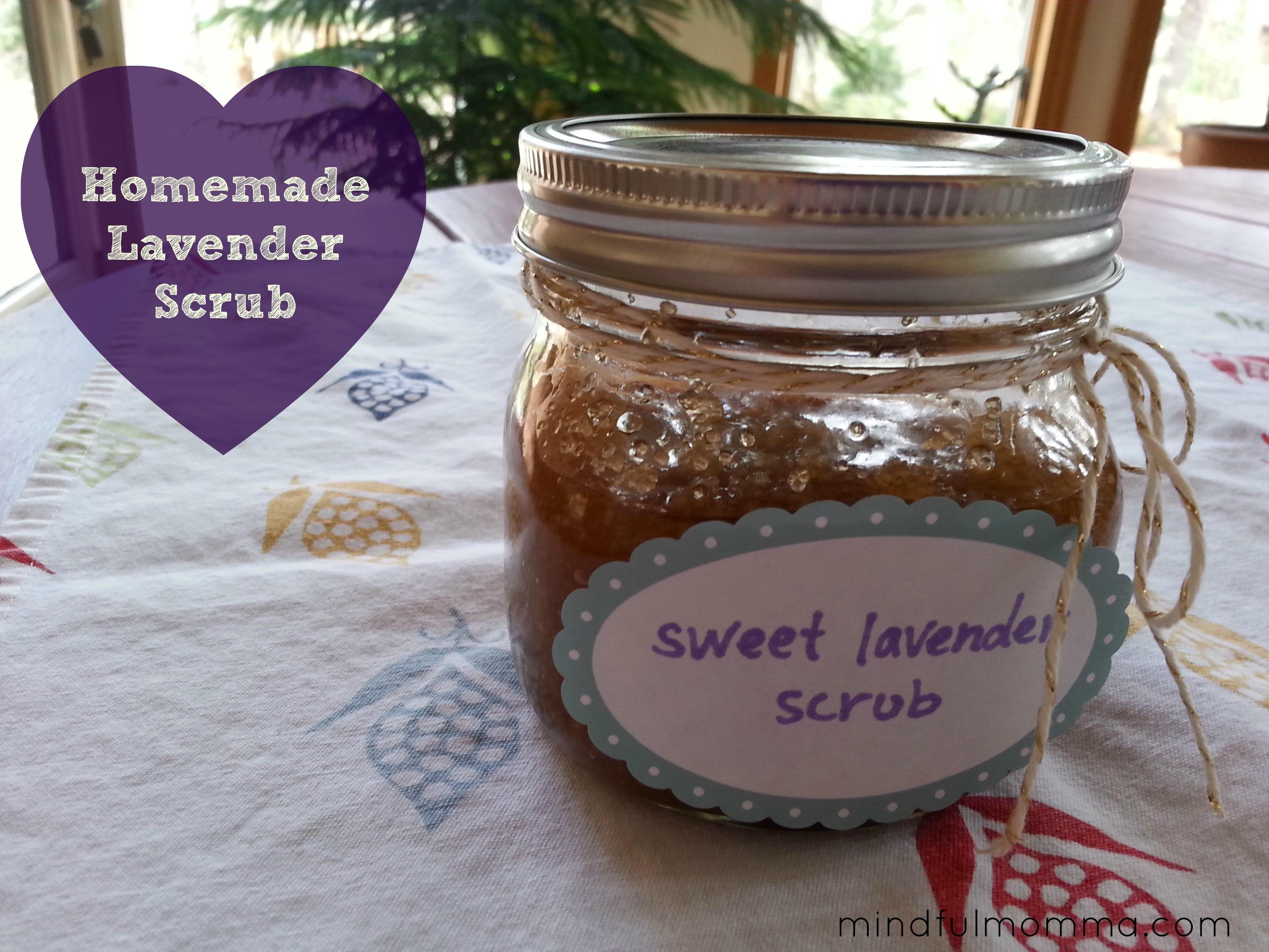 Homemade Lavender Scrub via Mindfulmomma.com