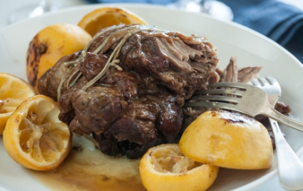 Slow-Cooked Lamb Shoulder with Roasted Lemons