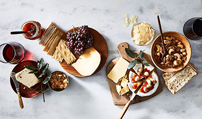 Glasses of Bordeaux Wines with Cheeses and Accoutrements