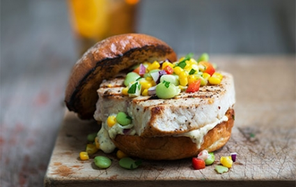Grilled Swordfish Sandwiches with Summer Succotash
