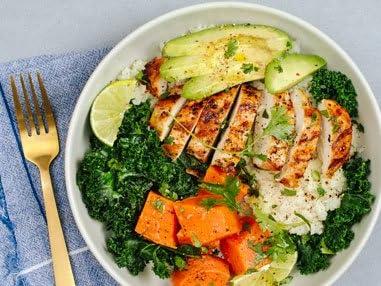 Paleo chicken veggie bowl with cauliflower rice.
