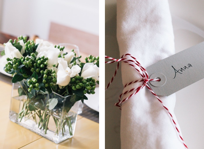 Flowers and a Napkin Wrapped with Twine