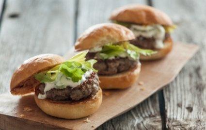 Lamb Sliders with Celery-Yogurt Sauce