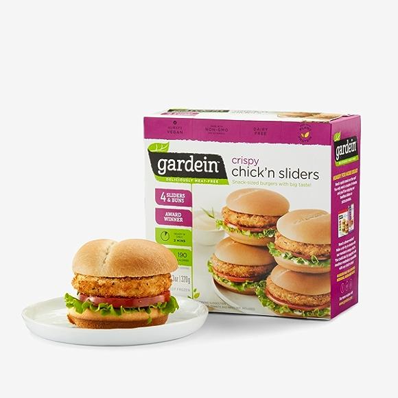 Vegan frozen food, gardein chick'n sliders.