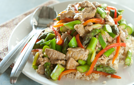 Pork Stir-Fry with Asparagus, Peppers and Green Onions