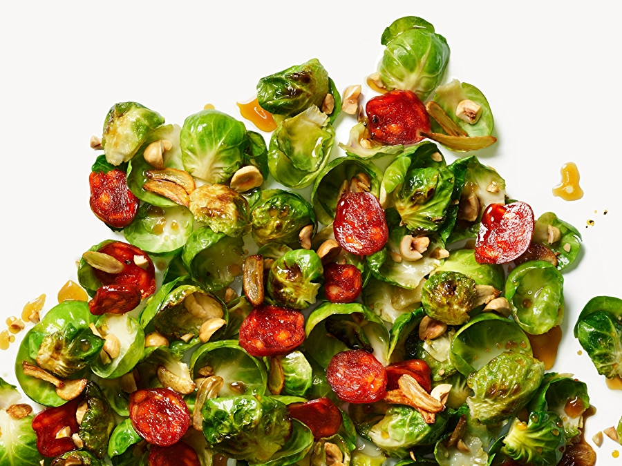Recipe: Garlicky Brussels Sprouts with Chorizo