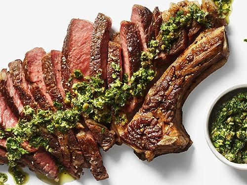 Grilled Ribeye Steak with Salsa Verde