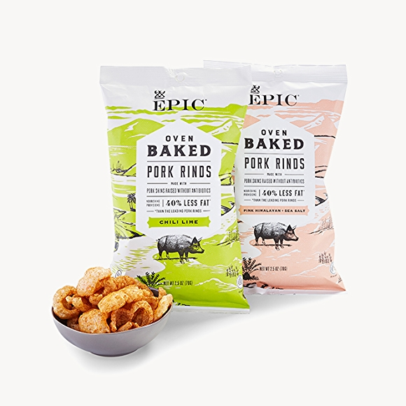 Epic brand pork rinds in packages and in a bowl