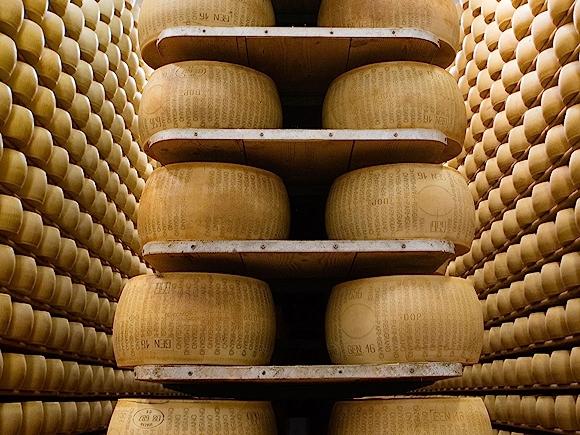 Wheels of Parmigiano Reggiano