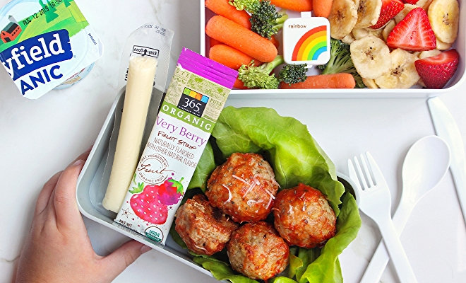 kids lunch box with meatballs