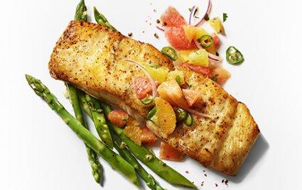 Halibut Fillet with Citrus Salsa and Asparagus