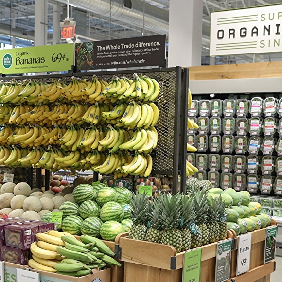 organic fruits and vegetables in whole foods market produce department