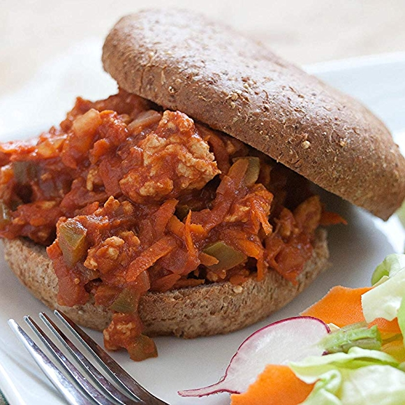 Image of turkey sloppy janes recipe with a side salad.