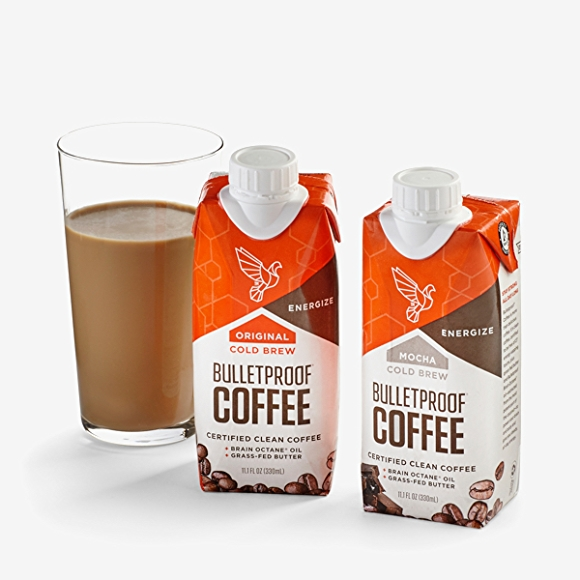 Image of Bulletproof coffee in package and poured into a glass.