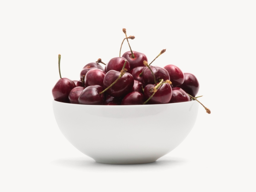 Fresh Cherries in While Bowl
