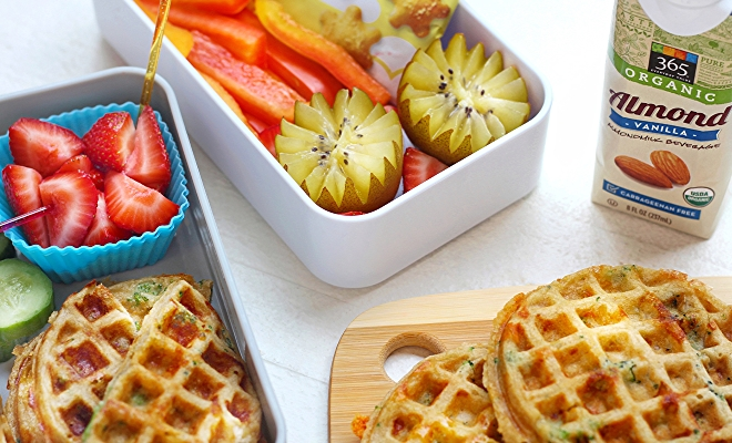 kids lunch box with waffles
