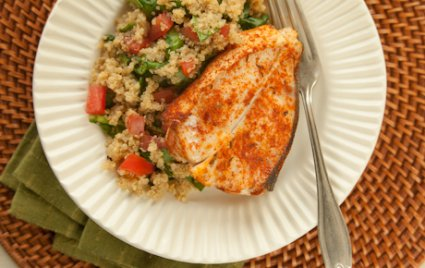 Roasted Halibut Steaks with Spinach-Quinoa Pilaf