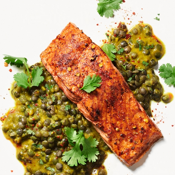 Salmon with Indian spices over lentils.
