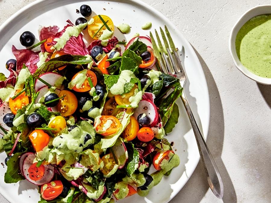 Summer salad recipe with lemon tahini dressing