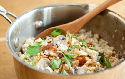 Brown Rice Pilaf with Mushrooms and Apricots
