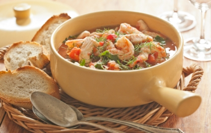 Mediterranean Fish Stew with Chard and Garlic Toasts