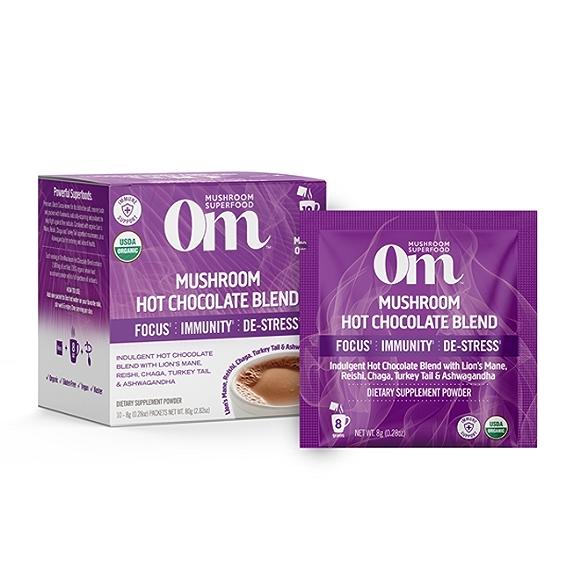 OM mushroom, hot chocolate blend