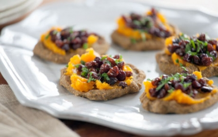"""Butternut Squash and Pecan Blini with Currant """"Caviar"""""""