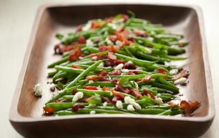 Green Beans with Goat Cheese, Cranberries and Bacon