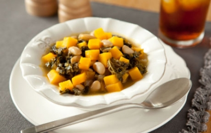 Winter Squash Stew with White Beans and Kale