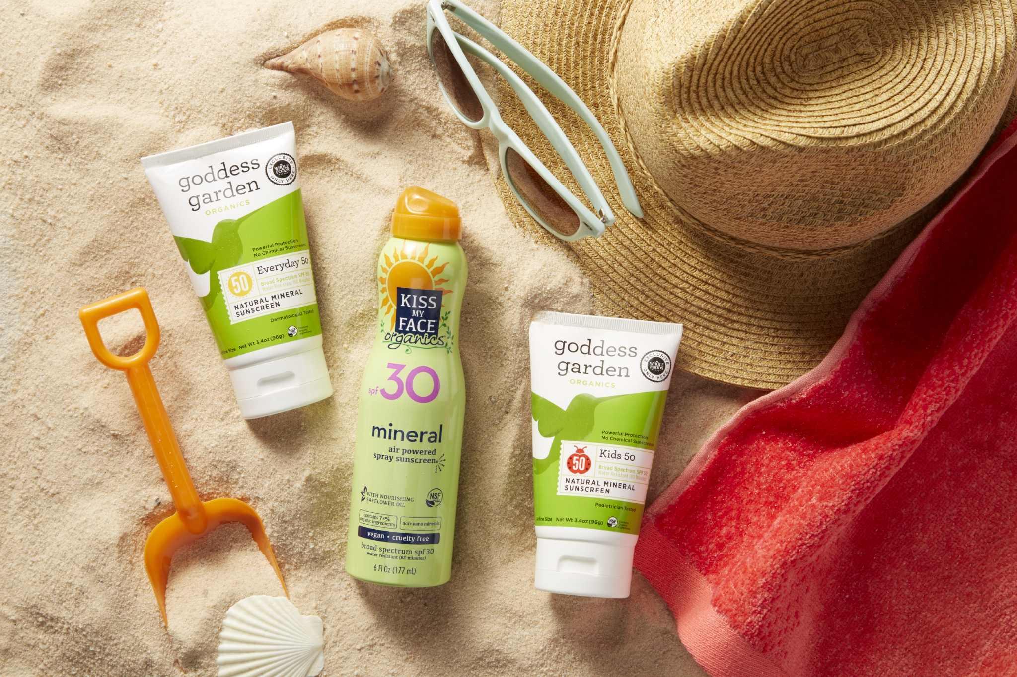 sunscreens in sand
