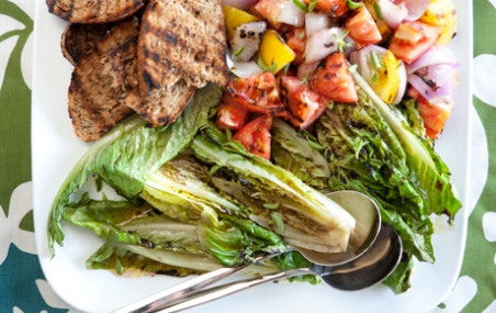 Grilled Tomato and Romaine Salad