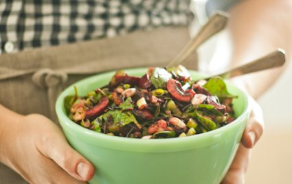 Cherry and Wild Rice Salad with Spinach and Walnuts