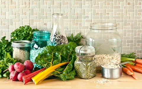 fruits and vegetables and bulk grains eat real food
