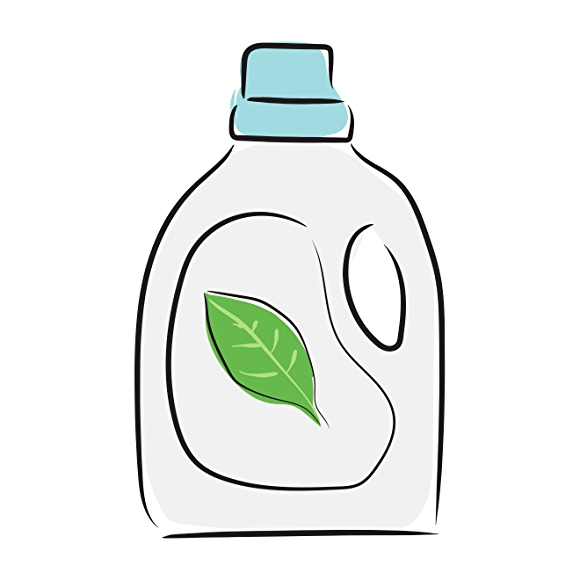 illustration of laundry detergent with green leaf on label
