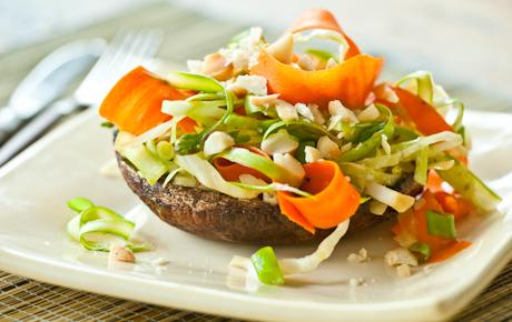 Sesame-Roasted Portobellos with Asparagus Slaw