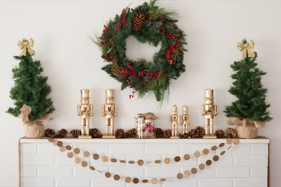 mantle with christmas holiday decorations