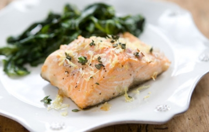 Baked Salmon with Lemon-Thyme Flaky Salt