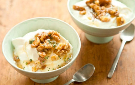 Greek Yogurt with Honey Thyme Walnut Crumble