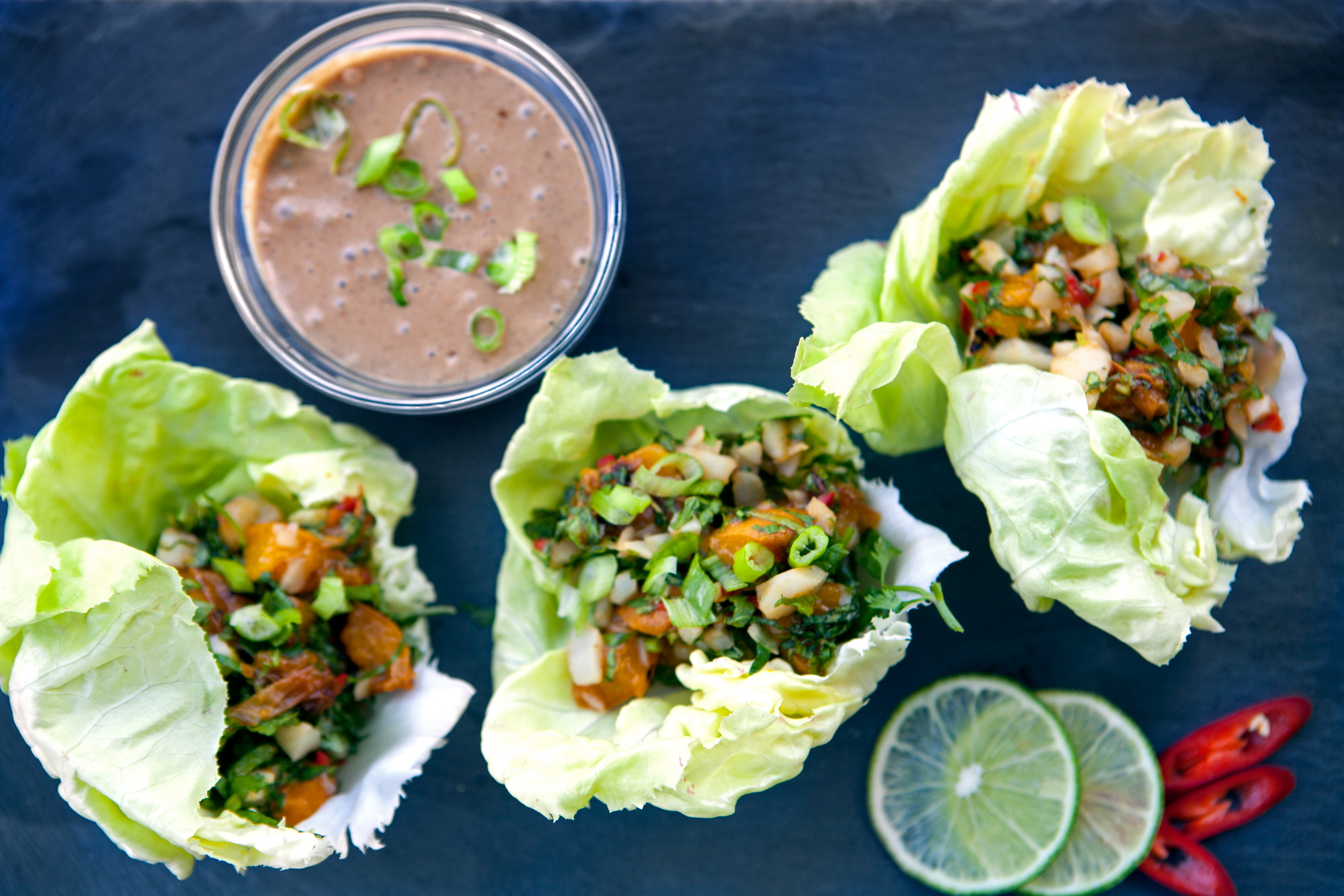 Lettuce Wraps with Grilled Apricots and Thai Herbs