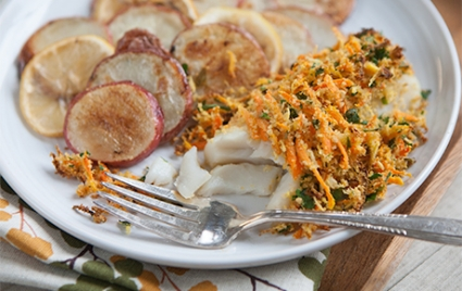 Carrot and Horseradish Roasted Cod with Red Potatoes and Lemon