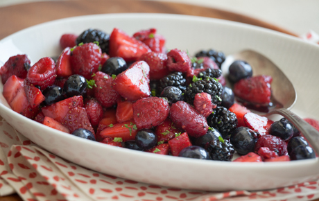 Summer Berry Salad with Mint Sugar