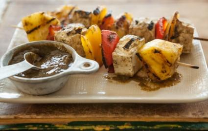 Tofu Veggie Skewers with Pineapple Mango Jerk Sauce