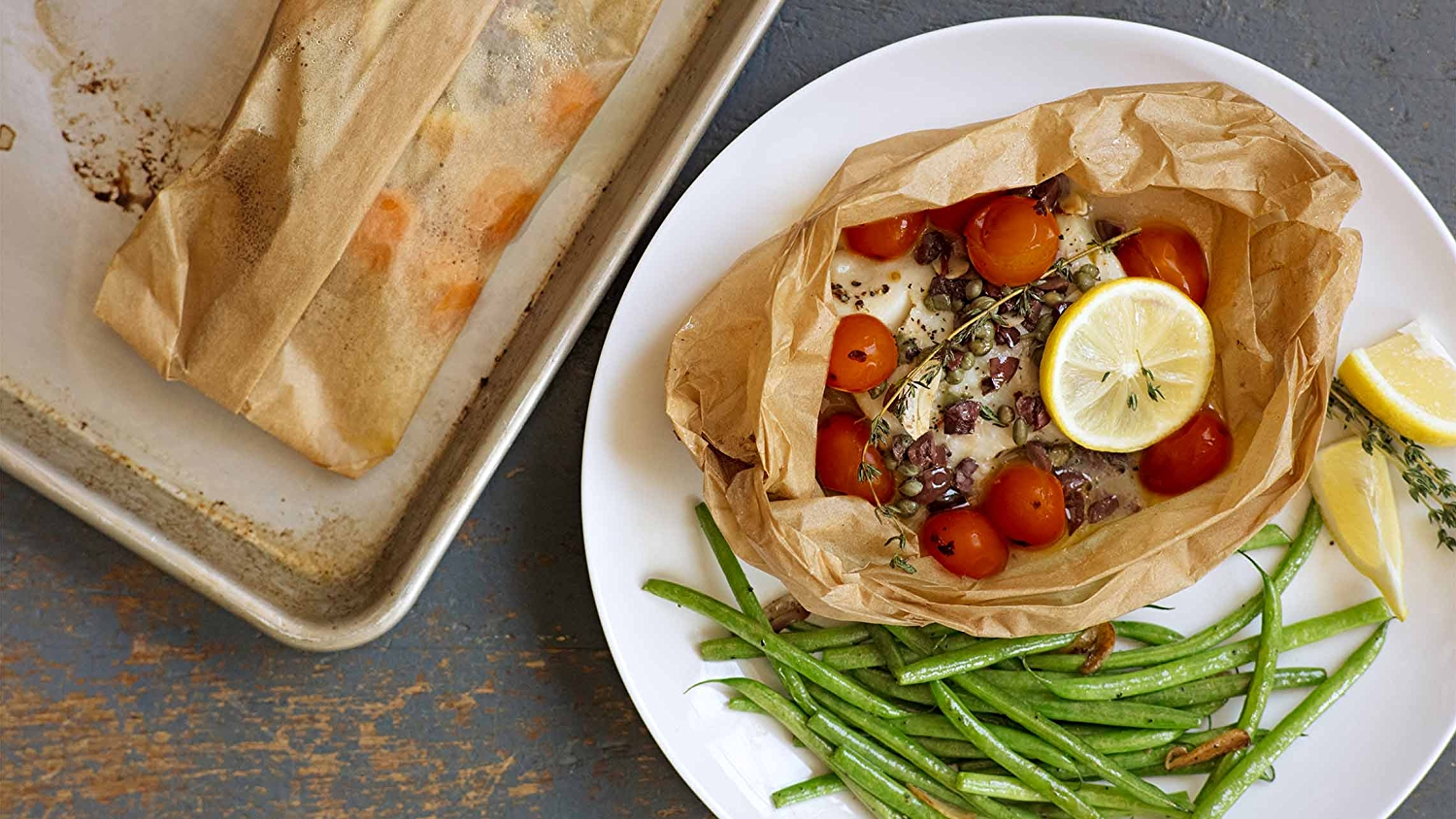Image of halibut in parchment paper.