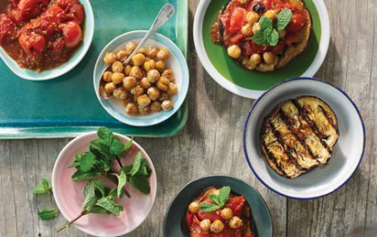 Smoky Grilled Chickpeas with Eggplant and Tomatoes