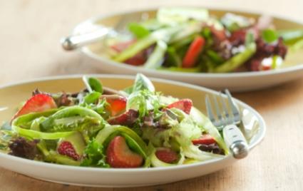 Spring Salad with Strawberries and Creamy Orange-Avocado Dressing