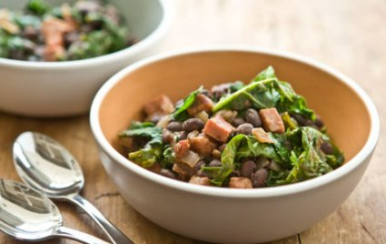 Black Beans with Kale and Ham