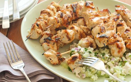 Chicken Kabobs with Feta-Cucumber Salsa