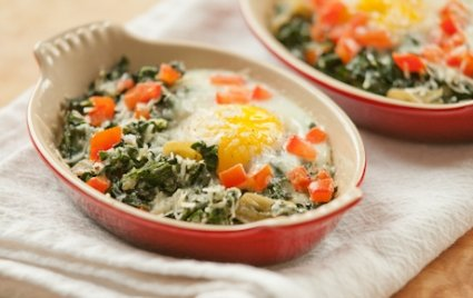 Parmigiano Reggiano Baked Eggs with Swiss Chard